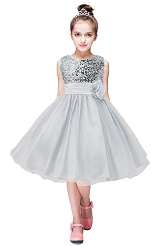 YMING Girls Birthday Party Wedding Party Shiny Toddler Sequins Dress 2-3 Gray Years]()
