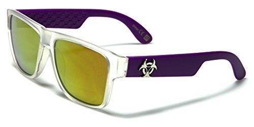 Cabaña Color Lente Diseño COMPLETO INCLUIDO Gafas UV400 Biohazard sol Espejo Vibrante LILA morado translúcido Protección Espejo GRATIS Hombre Translúcido Mujer Bolsa de w6WqgAB