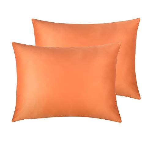 NTBAYSatinPillowcasesSetof2,SilkySoftandLuxury,ZipperedClosure(Orange, Standard) ()