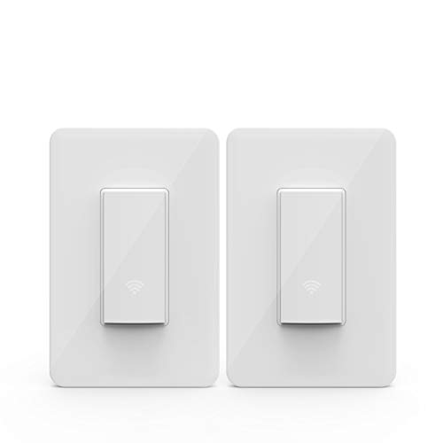 KMC Smart Wi-Fi Light Switch (2 Pack), Wireless Smart Lighting Control, No Hub Required, Single Pole, Requires Neutral Wire, Compatible with Alexa and Google Assistant