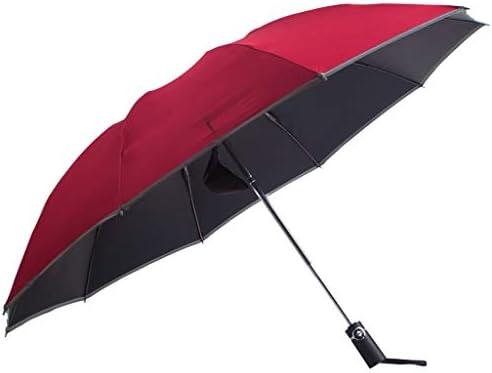 Queen Boutiques Leicht zu Falten Reverse Folding Umbrella Automatischer Sonnenschutz mit doppeltem Verwendungszweck Automatischer großer Doppelschirm Regen- und Winddicht (Color : Red)