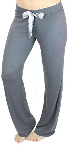 Ms Lovely Women's Ultra Soft Sleep Lounge Sweatpants Satin Tie Cute Comfy Baggy Pants - Dark Grey Small -