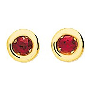 So Chic Bijoux © Boucles d'oreilles Femme Puces 3 mm Rubis Rouge Cercle Or Jaune 750/000 (18 carats)