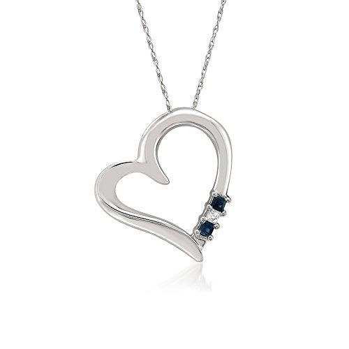 14k White Gold 3 Stone Princess cut Diamond & Sapphire Heart Pendant Necklace (1/10 cttw, H I, I2 I3)
