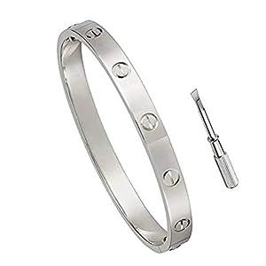 MVCOLEDY Jewelry 18 K Gold Bangle Bracelet Set in Stone Hinged Stainless Steel Crystal Bangle
