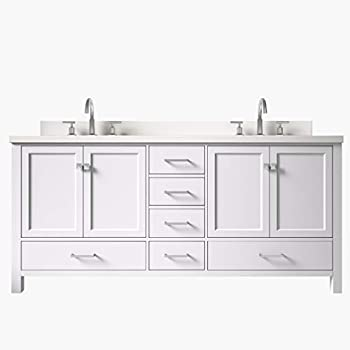 """ARIEL 73"""" Inch Double Vanity In White with Rectangle Sinks ..."""