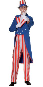Rubies Costume Deluxe Adult Uncle Sam Costume  Blue  Large
