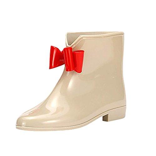 LvRao Women's High Heel Rubber Booties Waterproof Rain Shoes Leather Wellington Boots Half Wellies Khaki