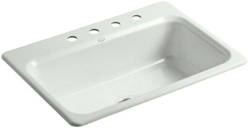 Kohler K-5832-4-FF Bakersfield Self-Rimming Kitchen Sink with Four-Hole Faucet Drilling, Sea Salt