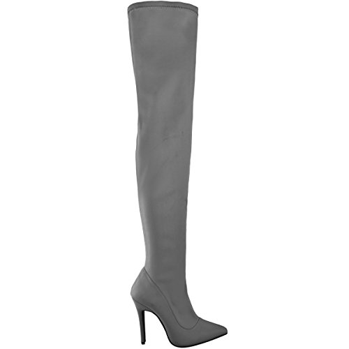 Thirsty High Lycra Fashion Size Boots High Length Heel Grey Womens Thigh Lycra Long aWwwcqHd0E