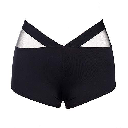 (Women's Shorts Athletic Mesh Stitching Skinny Sports Gym Workout Mini Yoga Hot Pants Shorts Black )