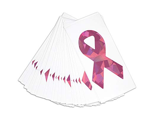 - 25 Cancer Awareness Decals - (25 Decals - Wholesale) (Pink Glitter Ribbon)