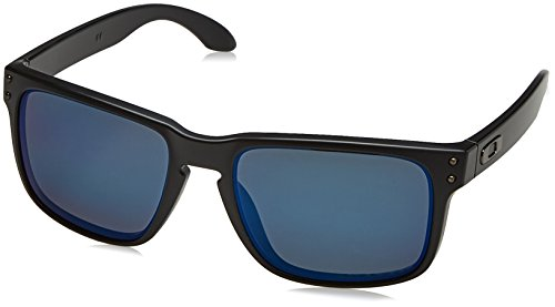 Oakley mens Holbrook OO9102-52 Iridium Polarized Sport Sunglasses,Matte Black/Ice,57 - Blue Oakley Iridium Holbrook