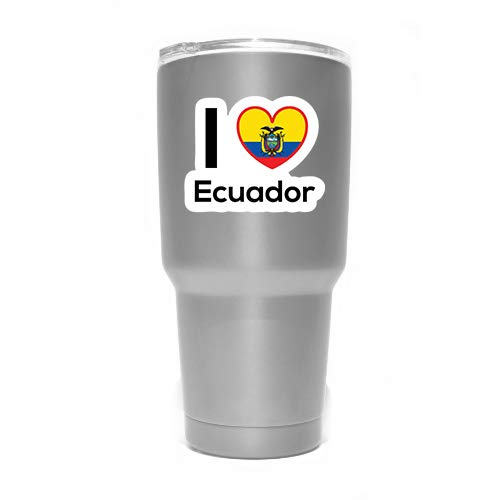 Two 3 Inch Decals Love Equador Flag Decal Sticker Home Pride Travel Car Truck Van Bumper Window Laptop Cup Wall MKS0174