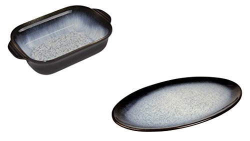 Denby Halo Alt Small Rectangular Oven Dish and Oval Platter, Set of 2 by Denby
