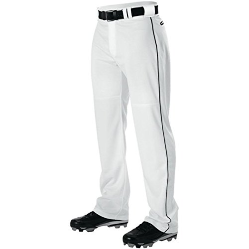 (Alleson Adult Pro Warp-Knit Baseball Pants - Full Relaxed Fit with Piping - White/Black - 3X-Large)