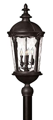 Hinkley 1891BK Traditional Four Light Post Top/ Pier Mount from Windsor collection in Blackfinish, (Windsor Pier One)