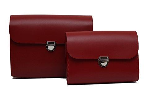 Una serie di piccoli e grandi Rosso Vera Pelle Grande Satchel croce corpo borsa con fibbia di chiusura e tracolla regolabile