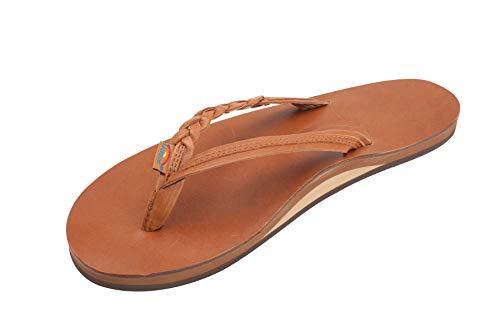 Rainbow Sandals Women's Flirty Braidy Premier Leather w/Single Braided Strap, Tan/Brown, Ladies 11/10.5-11.5 B(M) US ()