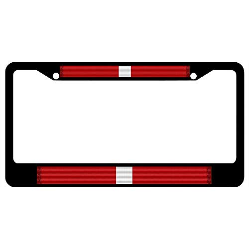 Kansas National Guard Meritorious Service Ribbon Black License Plate Frame, Custom Military Auto Car Plate Frame, License Plate Cover Holder for US Vehicles, 2 Holes and Screws