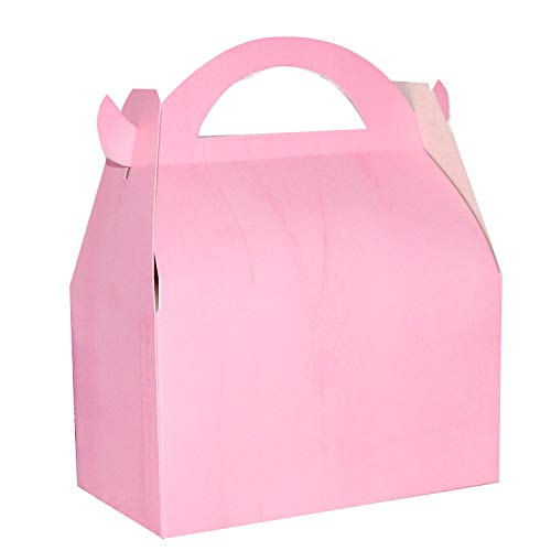 Set of 24 Pink Favor Boxes, Pink Baby Shower Birthday Party Gable Favor Boxes -
