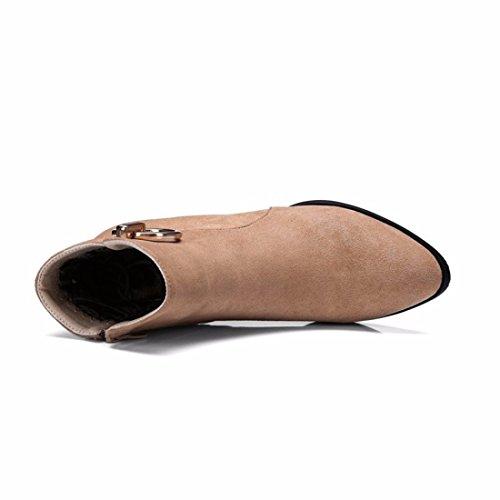 Chaussures Bottes D'Hiver la Taille des Femelles Décoration Métal avec des Bottes,Abricot (Terry),36
