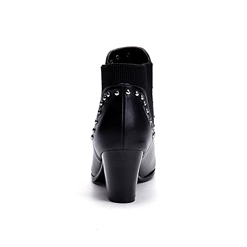 Amoonyfashion Kvinners Spisse Tå Lukket Tå Kitten-hæler Støvler Med Metall Ornament Og Elastisitet Hals Sort