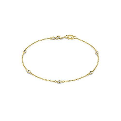 TriJewels 5 Stone Petite Lab Grown Diamond Womens Station Bracelet (VS2-SI1,G-H) 0.15 ctw 14K Yellow Gold