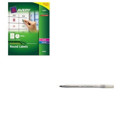 Removable Ink - KITAVE6450BICGSM11BK - Value Kit - Avery Removable Inkjet/Laser ID Labels (AVE6450) and BIC Round Stic Ballpoint Stick Pen (BICGSM11BK)