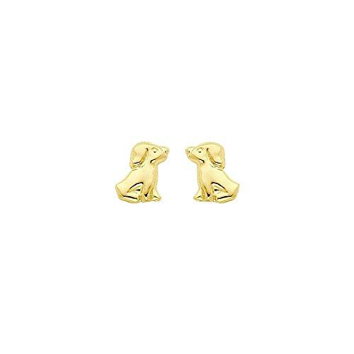 14k Yellow Gold Kids Madi K Dog Post Earrings (Gold 14k Yellow Dog)
