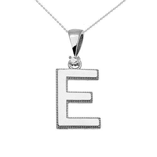 """Collier Femme Pendentif 14 Ct Or Blanc Poli Élevé Milgrain Solitaire Diamant """"E"""" Initiale (Livré avec une 45cm Chaîne)"""
