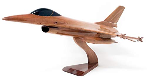 F-16 Falcon Replica Airplane Model Hand Crafted with Real Mahogany Wood