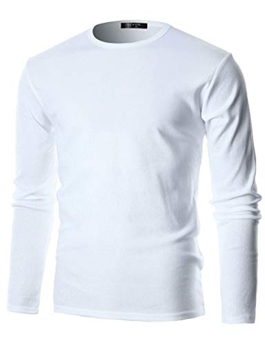 GIVON Mens Slim Fit Flice Cotton Long Sleeve Lightweight Thermal Crew Neck T-Shirt/DCP054-WHITE-S - Thermal Neck Crew Mens