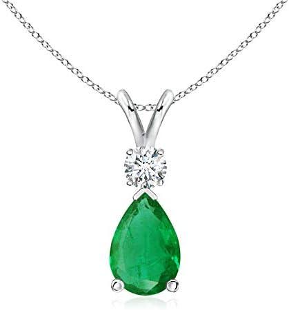 Emerald Teardrop Pendant with Diamond (9x6mm Emerald)