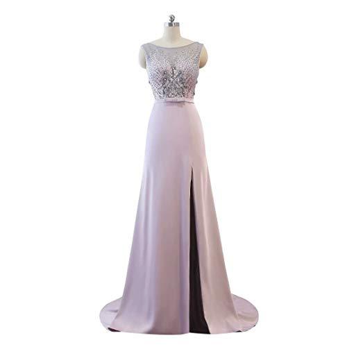 Ausschnitt Lange Split Abendkleid Ballkleider Helles Formale Hohe Frauen Perlen Lila der Spitze V wrBqw0px