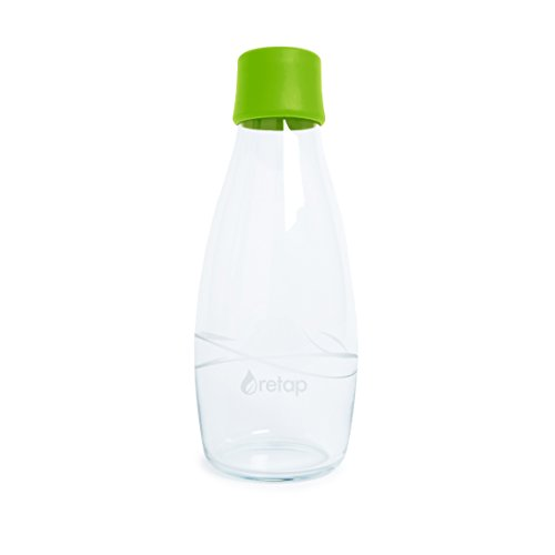 Retap Eco-Friendly Refillable BPA Free Borosilicate Glass Bottle and Water Infusion - Green – 17-Ounce by ReTap