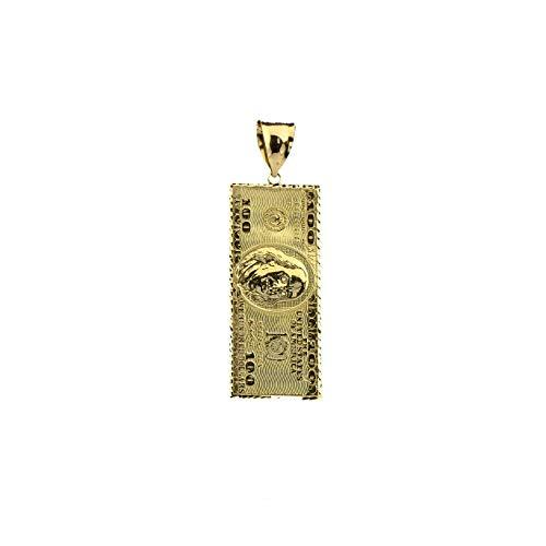 LOVEBLING 10K Yellow Gold Hundred Dollar Bill, Benjamin Franklin, Back to Back Charm Pendant (2.00
