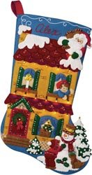 "Victorian House With Lights Stocking Felt Applique Kit 18"" Long"