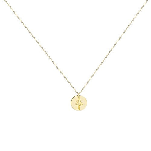 Befettly Women Pendant Necklace - 14k Gold Plated Disk Choker Necklace Engraved With Flower For Ladies & Girls