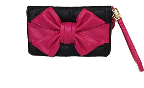 Betsey Johnson Oversized Triple Compartment Wristlet Bow Wallet