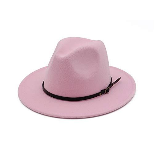 Vim Tree Women's Classic Wide Brim Fedora Hat with Belt Buckle Felt Panama Hat Pink]()