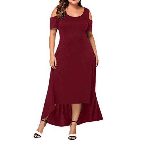 - Yucode Women Solid Off Shoulder Short Sleeve Plain Maxi Dresses Casual Sundress High Low Summer Dress Red