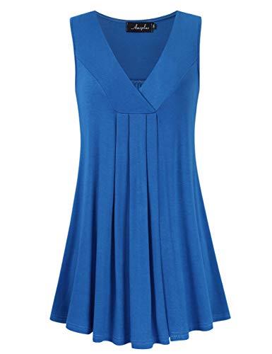 (AMZ PLUS Women's Plus Size Flowy Tops V-Neck Loose Blouse Casual Tunic Shirt (XL, Ltroyal Sleeveless))
