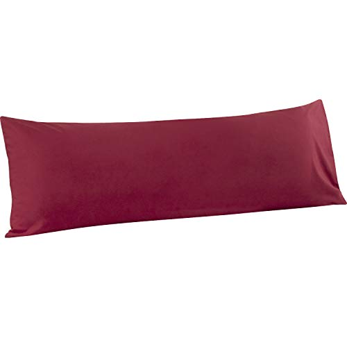 ALCSHOME Body Pillowcases, 1 Pack Ultra Soft Microfiber Premium Quality, 20″x54″ (Wine Red, Body)