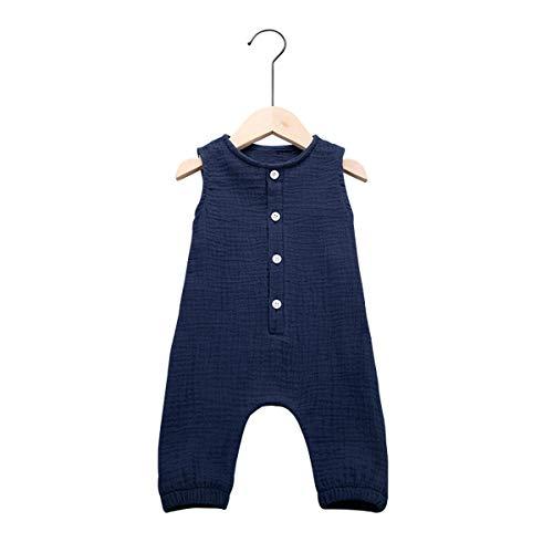 Cecobora Newborn Baby Boys Girls Romper Jumpsuit Cotton Linen Sleeveless Ruffled Bodysuit Infant Summer Clothes Outfits (Blue, 6-12 Months)