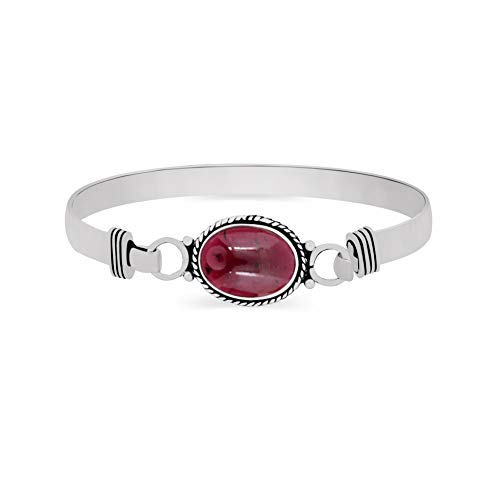 925 Silver Plated 9.10ct, Genuine Garnet Bangle Made by Sterling Silver - Sterling Bangles Silver Garnet