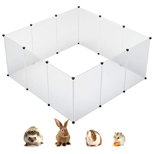 KOUSI Small Pet Pen Bunny Cage Dogs Playpen Indoor Out Door Animal Fence Puppy Guinea Pig Rabbit (L-59x59x27.6(in), Transparent)