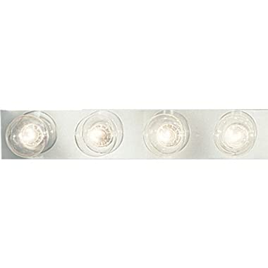 Progress Lighting P3298-15 4-Light Broadway Lighting Strips Sockets On 6-Inch Centers and UL Listed For Ceiling Mounting with 25 Watt Maximum Lamps, Polished Chrome