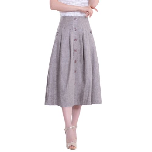 Mingxin Solid Colour Women's A-Line Buttoned Linen Flared...