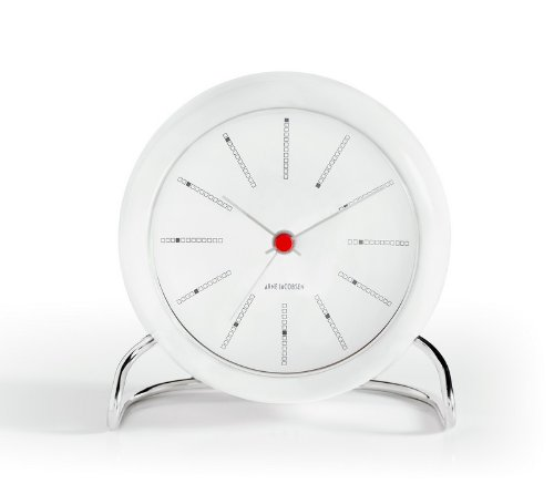 Arne Jacobsen Table Clock Banker in White by Arne Jacobsen
